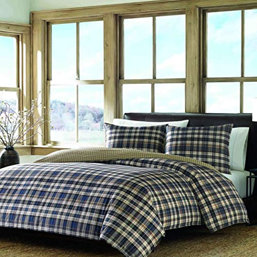 (D&D 3pc Beige Blue Tartan Plaid Stripes Comforter Full Queen Set, Percale Cotton, Cabin Themed Bedding Checked Lumberjack Pattern Lodge Southwest Madras Cottage Rustic)