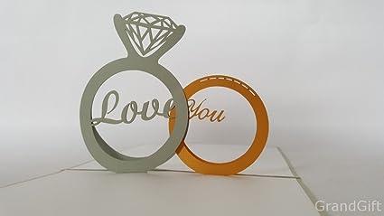 Tarjetas de felicitación de cumpleaños para los amantes con diseño de anillo de diamante 3D hecho