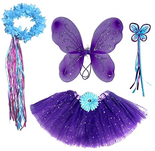 Enchantly 6 Pc Girls Dark Purple & Teal Fairy Set with Wings, Headband, Halo]()