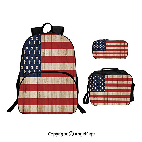 Hot Sale School Backpack For Girls 3 pcs per set,Fourth of July Independence Day Damaged Wooden Fence Looking Freedom Symbol,With Lunch Box Pencil Bag Very ()