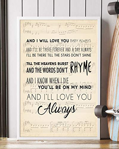 Trendora Decor Always Song Lyrics Portrait Poster Print (16