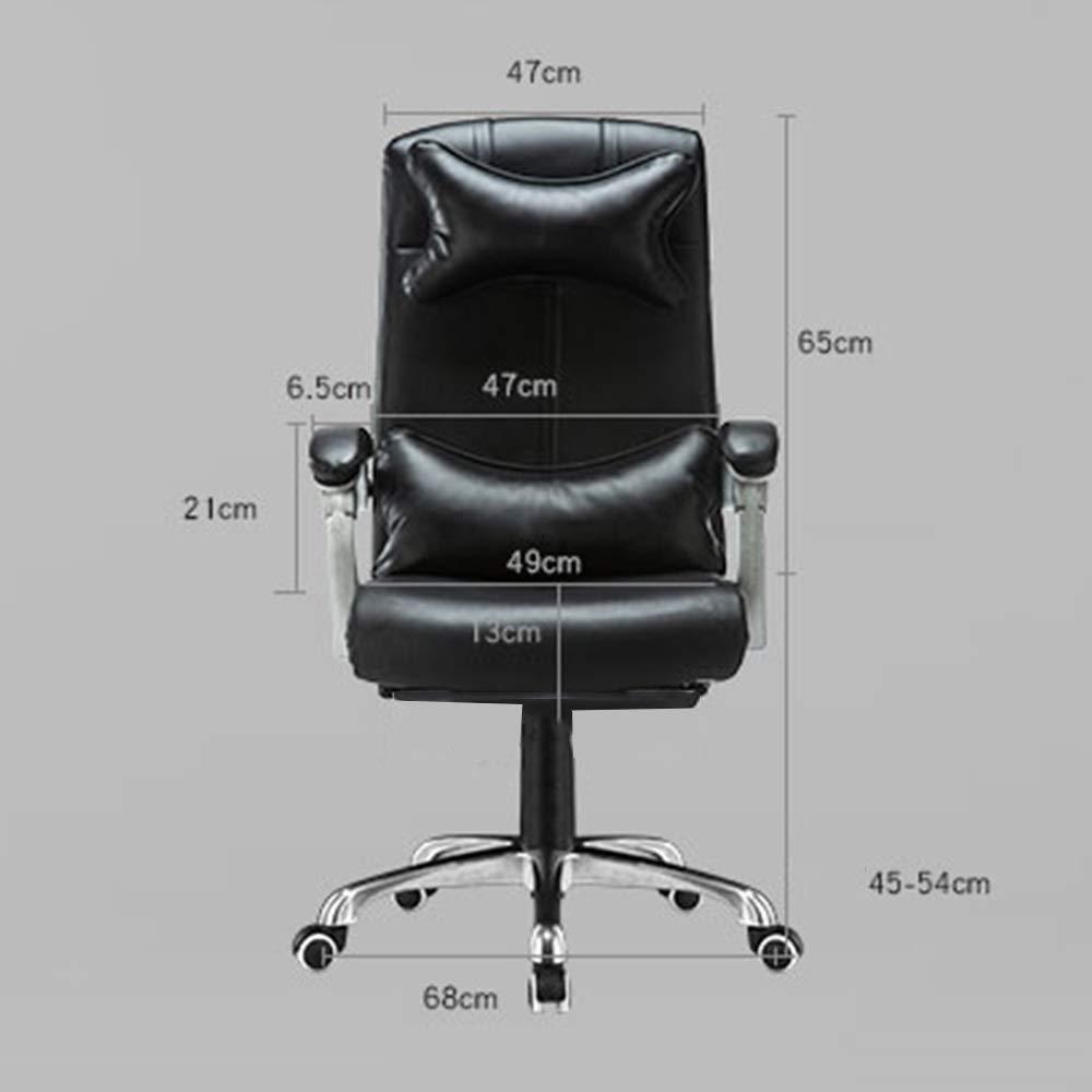 Dalovy bekväm läder dator skrivbordsstol, liggande kontorsstol justerbar höjd ergonomisk personalstol med nackstöd och ryggstöd Svart