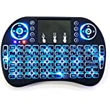 Wayer Mini I8 Wireless 2.4G Keyboard with Touchpad Mouse LED Backlit for Laptop, Computer, Smart TV, HTPC, TV, X-BOX (Black)