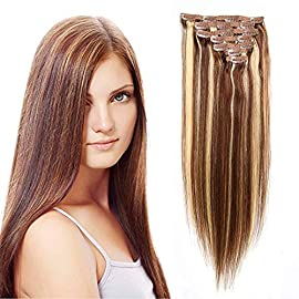 100% Human Hair Brazilian Straight Clip In Human Hair Extensions 14″ #1B Natural Black Full Head Silky Straight Human Hair Clip in Extensions 7pcs 80g/2.82oz