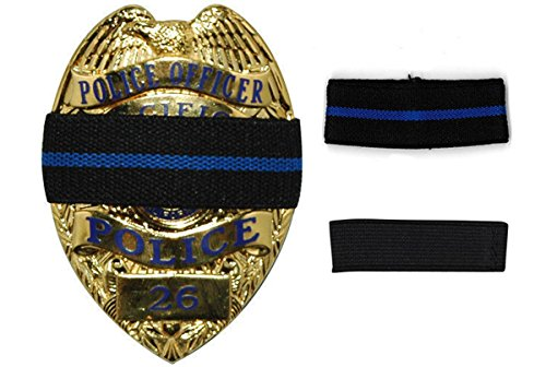 Bands of Mourning - Mourning Bands for Badges - Police - 2 Pack - 1 Blue Line & 1 Black - 2 Mourning Bands Set - Show Unity for a Fallen Officer - Blue Lives Matter