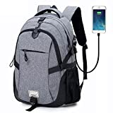 College Backpack School Bags Student Daypack Business Laptop Backpack Travel Hiking Knapsack Rucksack Anti theft Water Resistant 15.6 Computer Back Pack with USB Charging Port by DALNK (grey)