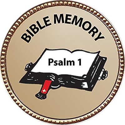 Keepsake Awards Psalm 1 Bible Memory Award, 1 inch Dia Gold Pin Bible Memory Achievements Collection: Toys & Games
