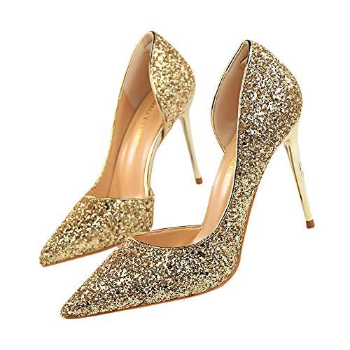 Tissu Or Sandale Talon Pointe À A Femme Pointue 9cm Mobast Chaussure Fins Escarpin Pas Talons Paillettes Cher 1OBxwq