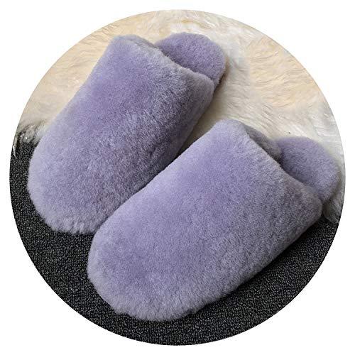 Natural Sheepskin Fur Slippers Fashion Winter Women Indoor Slippers,Purple,6 ()