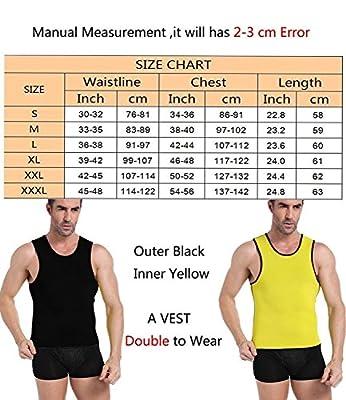OUSPOTS Men Hot Sweats Sauna Suit Neoprene Suits Slimming Body Shaper No Zipper Black for Muscle Building Cardio Strength