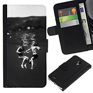 KingStore / Leather Etui en cuir / Samsung Galaxy S4 Mini i9190 / Niños Negro Blanco Dulce Mamá