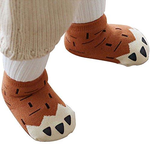amaoma 2coppie due coppie vestito nuove coreano bambini calzini spessore caldo in spugna da pavimento calzini per bambini e bambine Baby calze in cotone antiscivolo (marrone + Grigio)