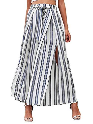 SUNJIN ARCO Women's Boho Striped Split High Waisted Belted Flowy Wide Leg Pants Trousers (White,12)