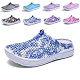 Womens Porcelain Pattern Mesh Slippers Lightweight Comfortable Non-Slip Beach Hollow Casual Walking Hole Shoes
