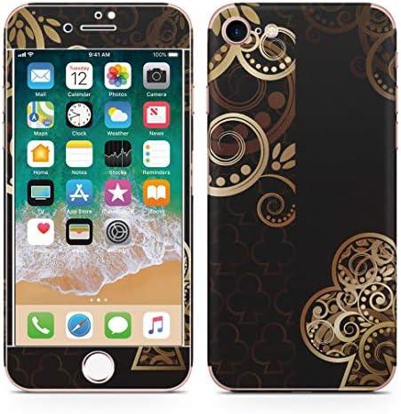 igsticker iPhone SE 2020 iPhone8 iPhone7 専用 スキンシール 全面スキンシール フル 背面 側面 正面 液晶 ステッカー 保護シール 000443 ラグジュアリー 黒 クローバー