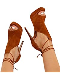 Womens Peep Toe Thin High Heels Pumps Suede Strappy Ankle Wrap Platform Stiletto Sandals