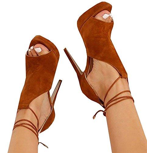 Runcati Womens Peep Toe Thin High Heels Pumps Suede Strappy Ankle Wrap Plateform Stiletto Sandals Brown