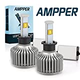 H3 LED Headlight Bulbs, Ampper Ultra Bright Arc Style Beam All in One Conversion Kit - 80W 8,000Lumen 6K Cool White CREE Chips (Pack of 2)