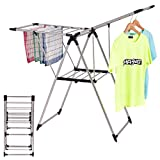 Tangkula Stainless Steel Clothes Drying Rack, Storage Folding Rack For Laundry