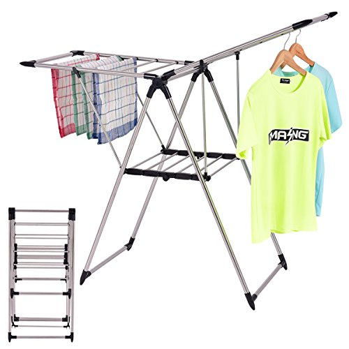 TANGKULA Stainless Steel Clothes Drying Rack, Storage Foldin