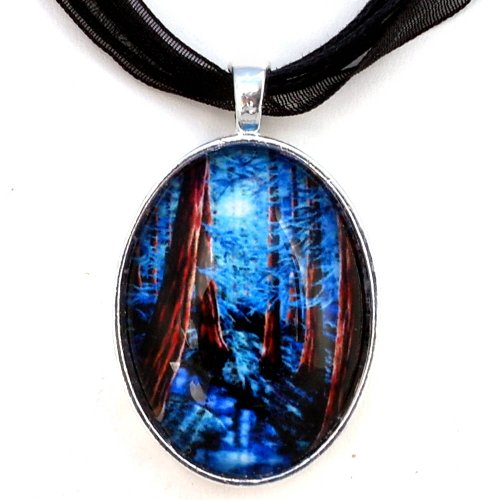 Laura Milnor Iverson California Redwood Forest on a Moonlit Night Handmade Jewelry Art Pendant (Black Ribbon Necklace)