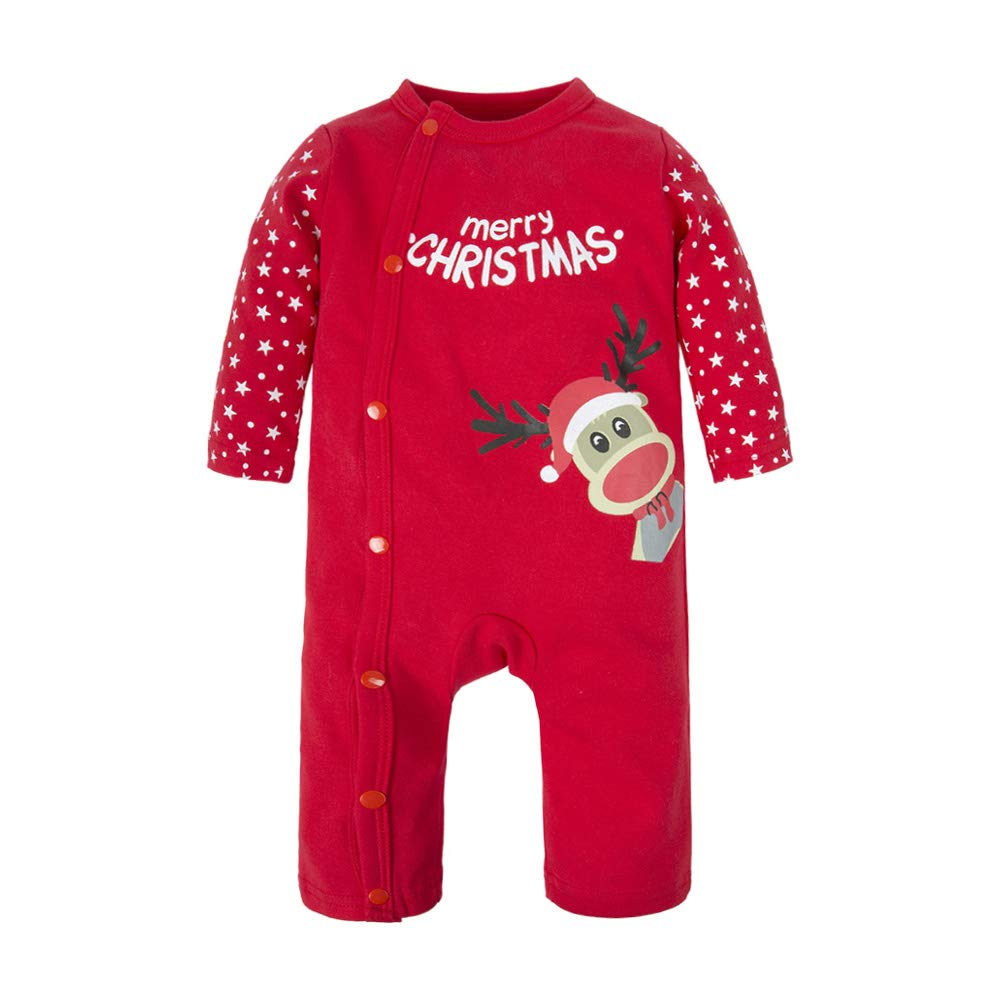 Big Elephant Baby Boys'1 Piece Elk Christmas Snap Up Romper Pajama Red M04C