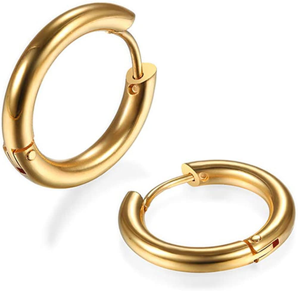 316L Surgical Stainless Steel Huggie Hoop Earrings 6mm/8mm/10mm/11mm/12mm/14mm Hypoallergenic Earrings Hoop Cartilage Helix Lobes Hinged Sleeper Earrings For Men Women Gilrs Boys