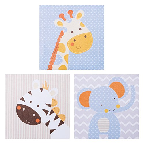 - Trend Lab Jungle Fun Canvas Wall Art Pack, Blue/Yellow/Brown/Gray