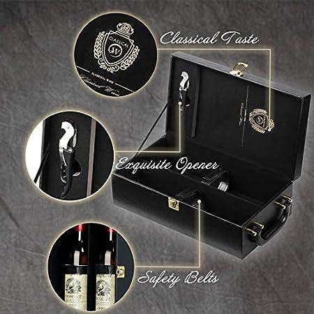 Estuche de Vino Sephywans, Asa Superior de Cuero Artificial para 2 Botellas con Accesorios de Vino Estuche de Vino para Regalo Viaje, Caja Portadora de Vino Hecha a Mano