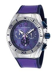 Technomarine Tm-115013 Men's Cruise Calif. Chrono Blue Silicone Purple Canvas Blue Dial Watch
