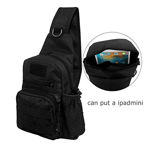 Sling Bag EDC satchel Tactical Bag Chest Shoulder Unbalance Gym Fanny Backpack Outdoor Gear Sack Strap Direction Adjustable for Travel Hiking Camping Hunting Nylon Black, by LC Prime