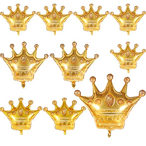 10 Pieces Gold Crown Balloons Aluminum Foil Crown Balloons for Baby Shower Wedding Birthday Party Accessories, 4 Sizes (Gold Decoration Crown)