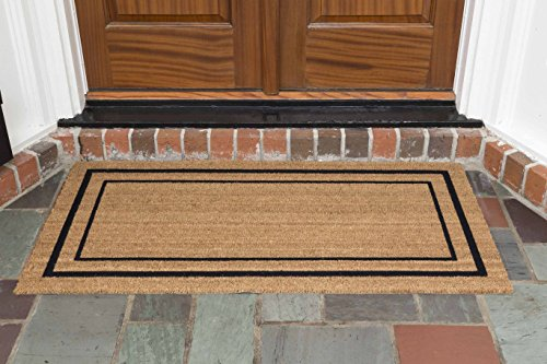 "DeCoir 24"" X 48"" 'Classic Border' Coir Double Door Mat, Medium/large"