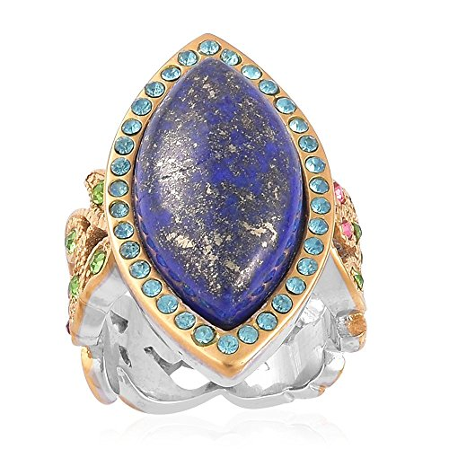 Shop LC Delivering Joy Vintage Cocktail Ring for Women Lapis Lazuli Multi Color Crystal ION Plated Yellow Gold Stainless Steel Jewelry Gift Size 8
