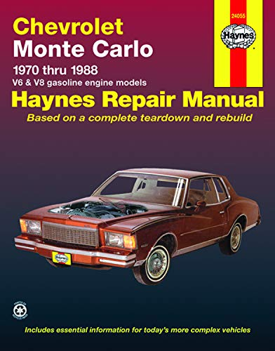 Chevrolet Monte Carlo (70-88) Haynes Repair Manual (Does not include information specific to diesel engines. Includes thorough vehicle coverage apart ... exclusion noted) (Haynes Repair Manuals) (Car Repair Dvd)