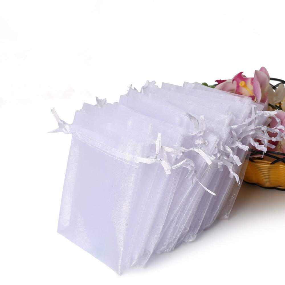 Hopttreely 100PCS Premium Sheer Organza Bags, White Wedding Favor Bags with Drawstring, 4x4.72 Jewelry Gift Bags for Party, Jewelry, Festival, Bathroom Soaps, Makeup Organza Favor Bags