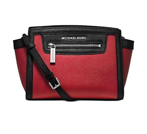 Price comparison product image Michael Kors Selma Leather Zip Medium Messenger Scarlet Red & Black