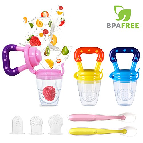 Baby Food Feeder, YCGRE Reusable Fresh Fruit Feeder Pacifier BPA Free Infant Teething Toy with 2 Pack Baby Feeding Spoons for Toddler & Kids Bonus 3 Pcs Replacement Silicone Pouches (Girl) from YCGRE