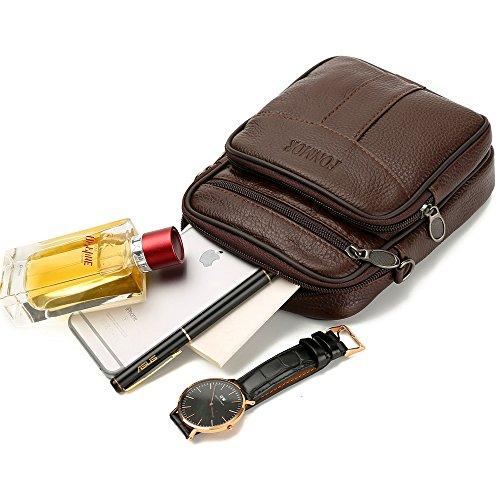 bandolera superior capa teléfono la Bolso mini celular de Marron del bandolera cuero bolsillo cuero mini de de 0xqwF5pRF