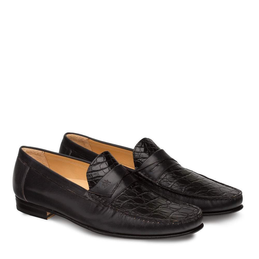 Mezlan SICA Mens Luxury Formal Loafers - Calfskin & Crocodile Slip-On Loafer with Leather Sole - Handcrafted in Spain - Medium Width (10.5, Black) by Mezlan (Image #2)