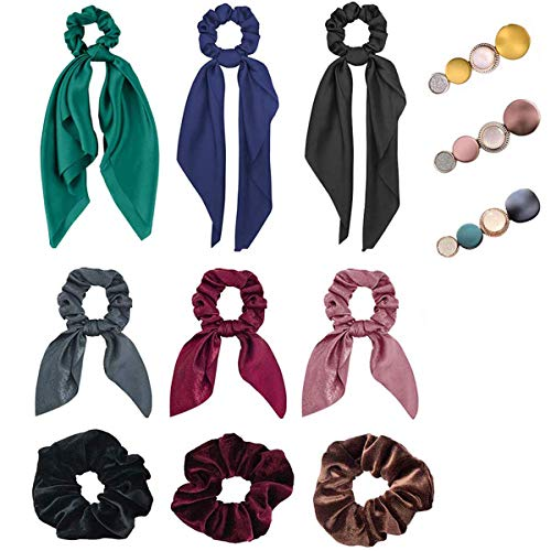Hair Scrunchies for WomenIncluding 3 Silk Satin Hair Scarf & 3 Satin Bunny Ear Scrunchies & 3 Velvet Ropes Scrunchies and 3 Fashion Hair Clips, Great Gift for Thanksgiving day and Christmas (12Pcs)