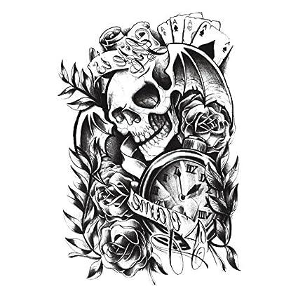 Impermeable calavera floral tatuaje brazo lavable extraíble ...
