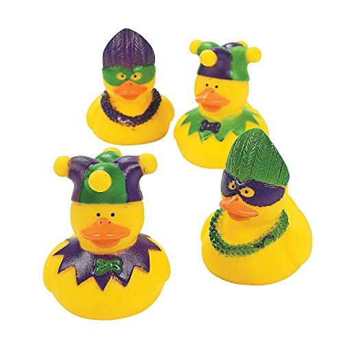 Fun Express - Mardi Gras Rubber Duckies for Mardi Gras - Toys - Character Toys - Rubber Duckies - Mardi Gras - 12 Pieces ()