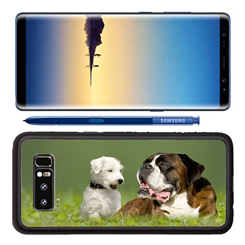 Feed Jack Russell (Luxlady Premium Samsung Galaxy Note8 Aluminum Backplate Bumper Snap Case IMAGE ID: 29875532 Parson Jack Russell Terrier and German Boxer in meadow)