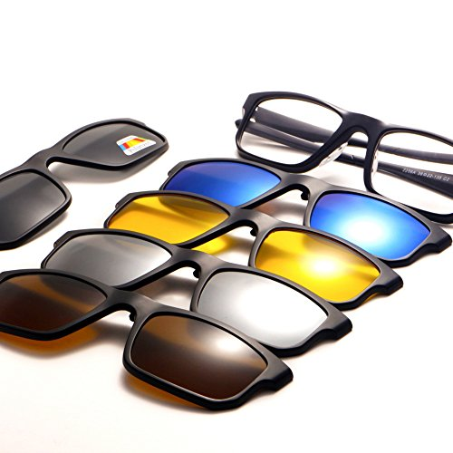 TIMWILL 5Pcs Lenses Magnetic Polarized Clip-on Sunglasses Men Women Unisex TR90 Plastic Frame Night Driving UV400 protection sunglasses ()