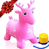 FLASH SALE | Inflatable Bouncy Deer - Animal Hopper Ride-on Seat – Best Gift for Toddlers Age 1, 2, 3, 4 Year Old Boys and Girls Indoor/Outdoor + Free Foot Pump