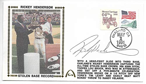 (1991 Rickey Henderson Stolen Base Record Autographed 1st Day Cover )