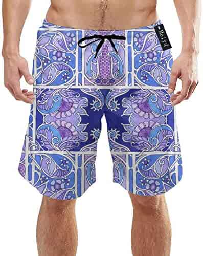 ee18d0332ba7e Yunilya Blue and Purple Posy Patch Mens Summer Swim Trunks 3D Graphic Quick  Dry Funny Beach