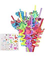 FZR Legend Reusable Dinosaur Drinking Plastic Straws + Dinosaur Temporary Tattoos for Kids   Dinosaur Birthday Party Supplies - Rainbow Dinosaur Party Favors Decorations - Set of 30 with Cleaning Brush