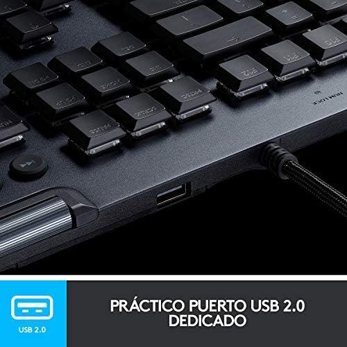 Logitech G815 LIGHTSYNC RGB Teclado Gaming Mecánico Alámbrico con teclas GL-Táctil de bajo perfil, 5 teclas G programables, Paso de USB, Controles ...